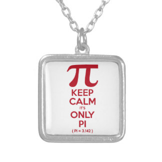 Keep Calm It's Only Pi Silver Plated Necklace