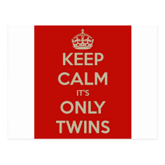 Keep Calm It's Only Twins Post Card