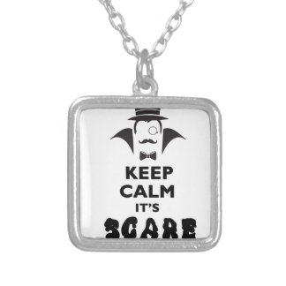 Keep calm it's scare time silver plated necklace