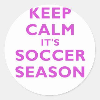 Keep Calm Its Soccer Season Round Sticker