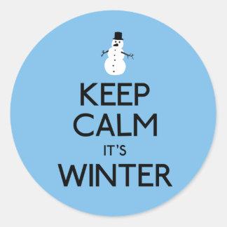 Keep calm it's winter classic round sticker