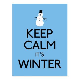 Keep calm it's winter postcard