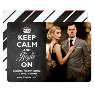 Keep Calm Jingle On Chalkboard Holiday Photo Card
