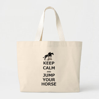 Keep Calm & Jump Your Horse Large Tote Bag