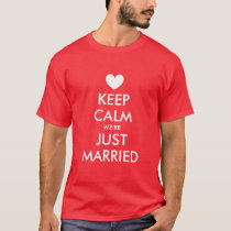Keep calm just married t shirts for newly weds
