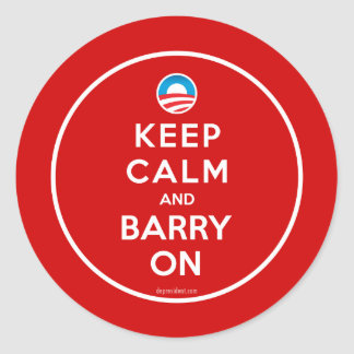 Keep Calm Keep Barry On Classic Round Sticker