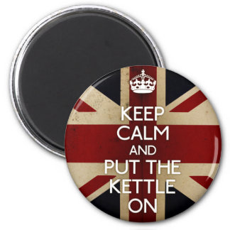 Keep Calm (kettle on) 2 Inch Round Magnet