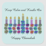 """Keep Calm Kindle On Chanukah Square Sticker<br><div class=""""desc"""">Celebrate all the nights of Chanukah with these colorful stickers with saying,  &quot;Keep Calm Kindle On&quot; for all the lights of this holiday.  Bring a fun message with this flower design menorah to family and friends.</div>"""