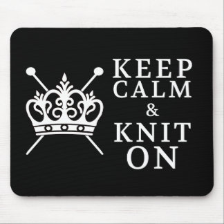 Keep Calm Knit On Crafts / Crown Logo {Dark} Mouse Pad