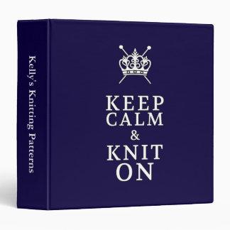 Keep Calm Knit On {Dark} Pattern Organizer Binder
