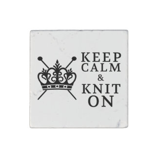 Keep Calm Knit On Stone Magnet