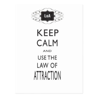 Keep Calm Law of Attraction Design Postcard