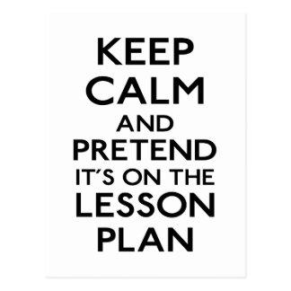 Keep Calm Lesson Plan Postcard