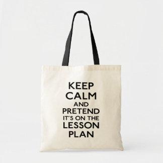 Keep Calm Lesson Plan Tote Bag