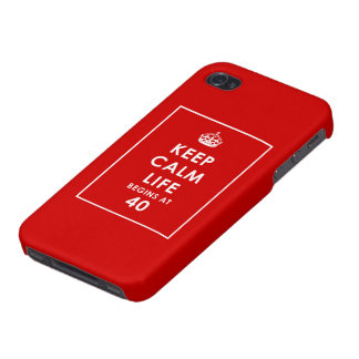 Keep Calm Life begins at 40 iPhone 4 Cover