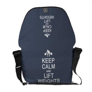 Keep Calm Lift Weights custom messenger bag
