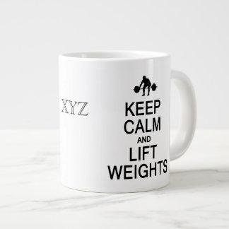 Keep Calm & Lift Weights custom monogram mugs