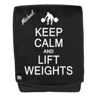 Keep Calm & Lift Weights custom name backpack