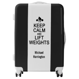 Keep Calm & Lift Weights custom name & color Luggage