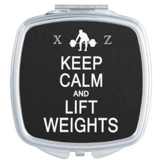 Keep Calm & Lift Weights custom pocket mirror Makeup Mirror