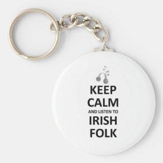 Keep calm listen to irish Folk Music Keychains