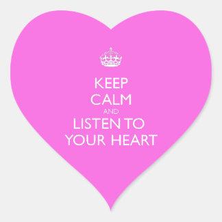 Keep Calm & Listen To Your Heart Heart Sticker