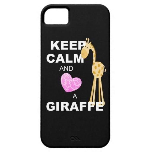 Keep Calm & Love a Giraffe (pink heart) iPhone 5/5S Cases