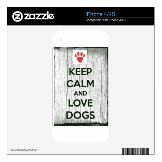 Keep Calm & Love Dogs Skin For iPhone 4S