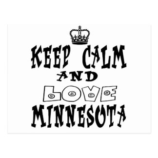 Keep Calm Love Minnesota Post Card