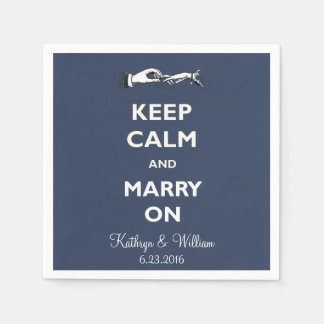 Keep Calm Marry Navy Personalized Napkins Standard Cocktail Napkin
