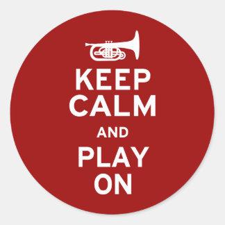 Keep Calm Mellophone Classic Round Sticker