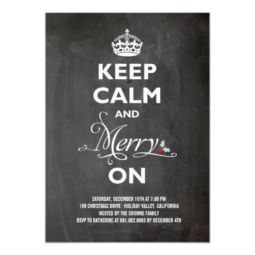 Keep Calm Merry On Chalkboard Christmas Party Cards