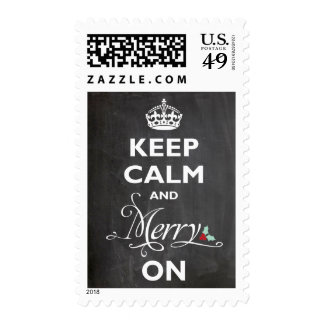 Keep Calm Merry On Chalkboard Funny Holiday Stamps