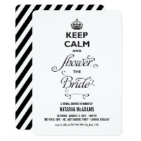Keep Calm Modern Funny Bridal Shower Party Invite