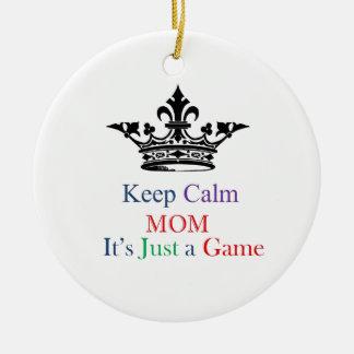 Keep Calm Mom Double-Sided Ceramic Round Christmas Ornament