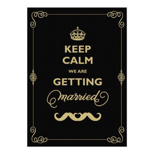 Keep Calm Moustache Classic Vintage Gay Wedding Invite