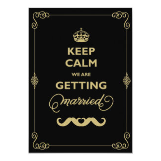 Keep Calm Moustache Classic Vintage Gay Wedding 5x7 Paper Invitation Card