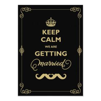 Keep Calm Moustache Classic Vintage Gay Wedding 5x7 Paper Invitation Card