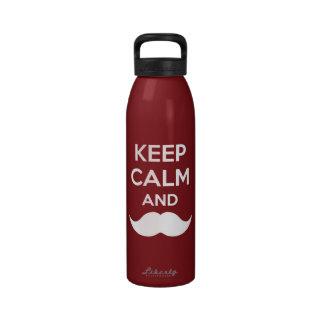 Keep Calm - Moustache Water Bottles
