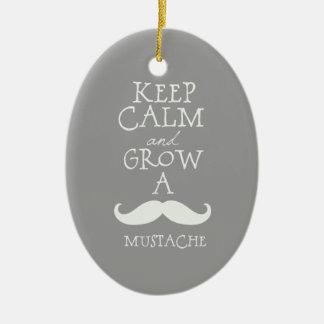 Keep Calm Mustache Ceramic Ornament