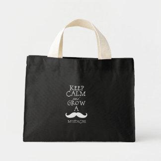 Keep Calm Mustache Mini Tote Bag