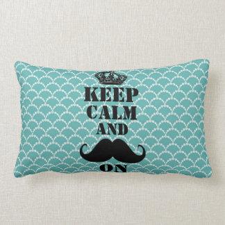 Keep Calm Mustache On Throw Pillow