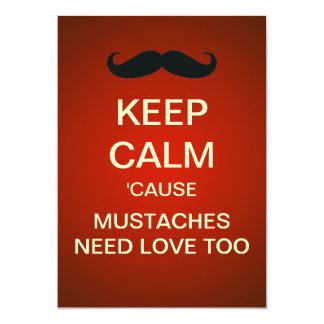 Keep Calm Mustache Party Custom Invitation