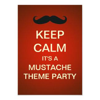 Keep Calm Mustache Theme Party Custom Invitation