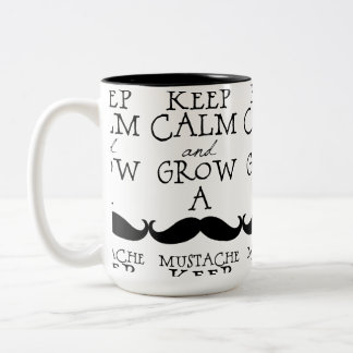 Keep Calm Mustache Two-Tone Coffee Mug