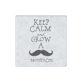 Keep Calm Mustaches Stone Magnet
