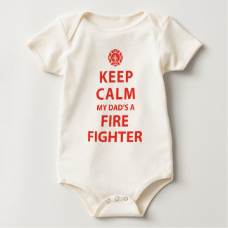 KEEP CALM MY DAD'S A FIREFIGHTER BABY BODYSUIT