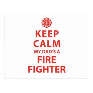 KEEP CALM MY DAD'S A FIREFIGHTER POSTCARD