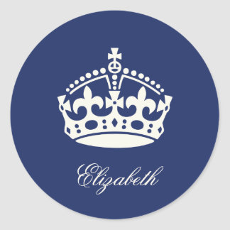 Keep Calm Navy Blue Crown Logo Party Favor Sticker