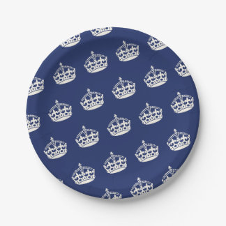 Keep Calm Navy Crown Birthday Party Paper Plates
